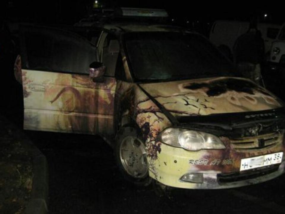 Хонда Odyssey сгорела ночью вАнгарске